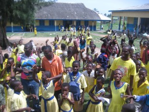 Students at Methodist Primary stream out onto the courtyard to bid us farewell.