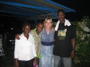 Abigail, Eba, Me, and Prince (all made us feel at home at the Lagoon Lodge)
