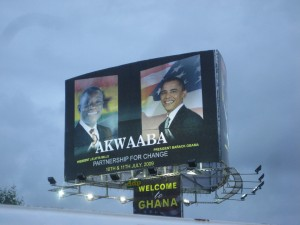 A billboard welcoming President Obama to Ghana